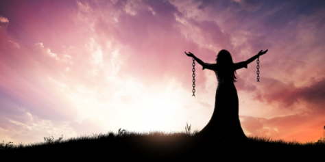woman brokefree from chains